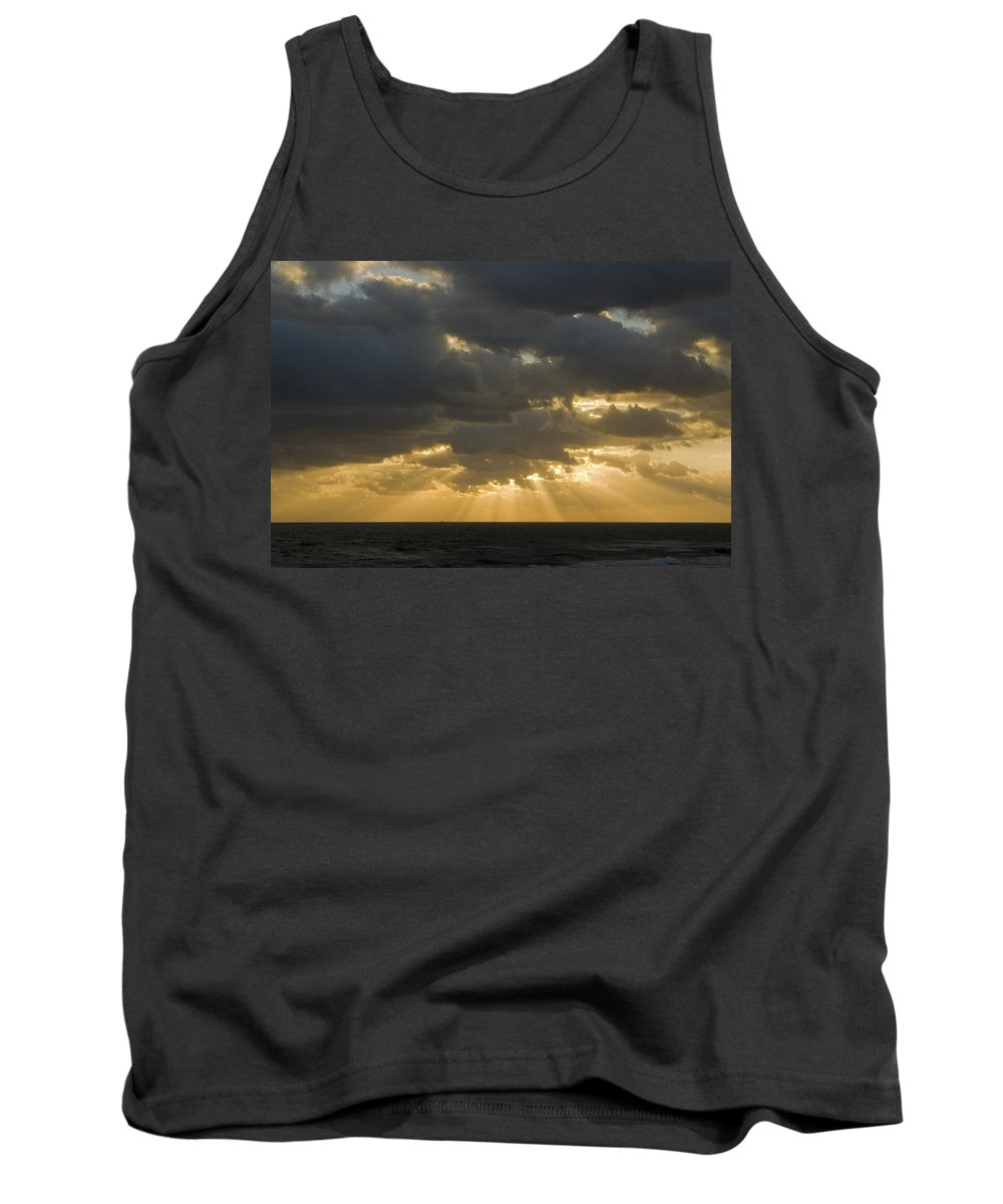Ocean Sunset Sun Cloud Clouds Ray Rays Beam Beams Bright Wave Waves Water Sea Beach Golden Nature Tank Top featuring the photograph New Beginning by Andrei Shliakhau