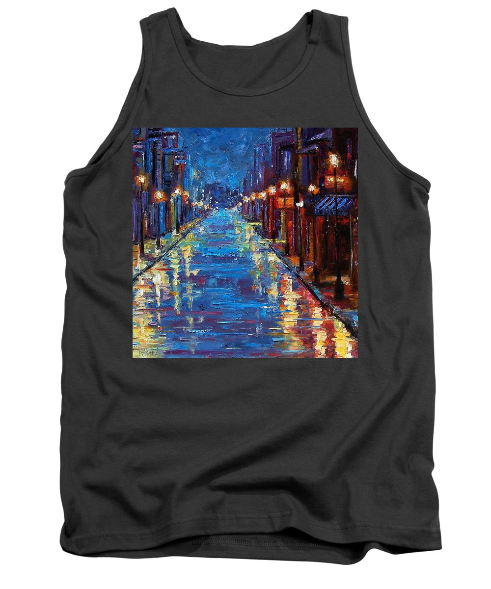 Cityscape Tank Top featuring the painting New Orleans Bourbon Street by Debra Hurd