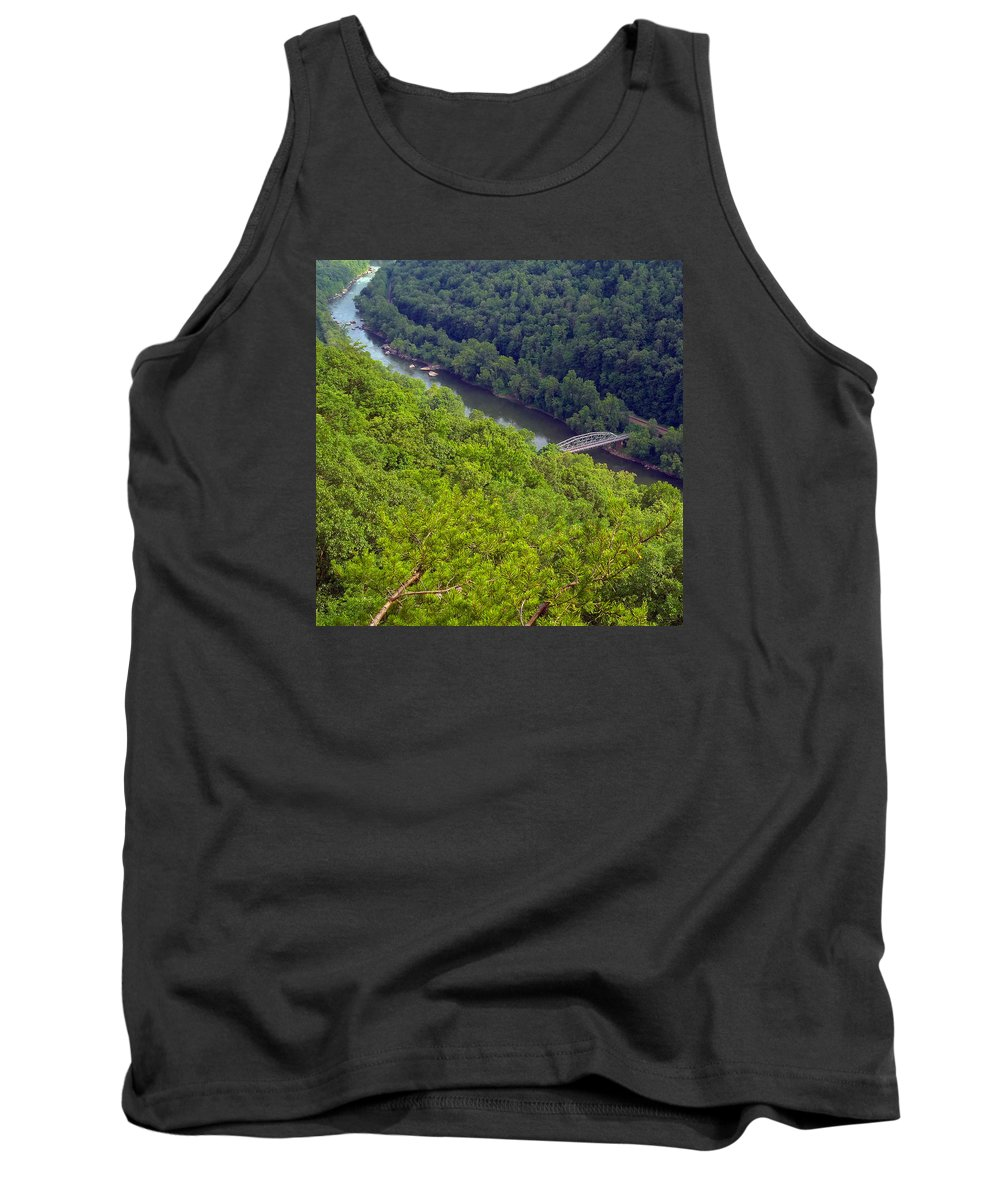 New River Tank Top featuring the photograph New River Old Bridge by Pat Turner