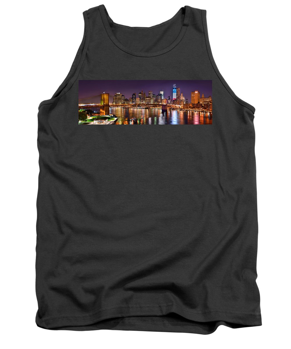 New York City Skyline At Night Tank Top featuring the photograph New York City Brooklyn Bridge And Lower Manhattan At Night Nyc by Jon Holiday