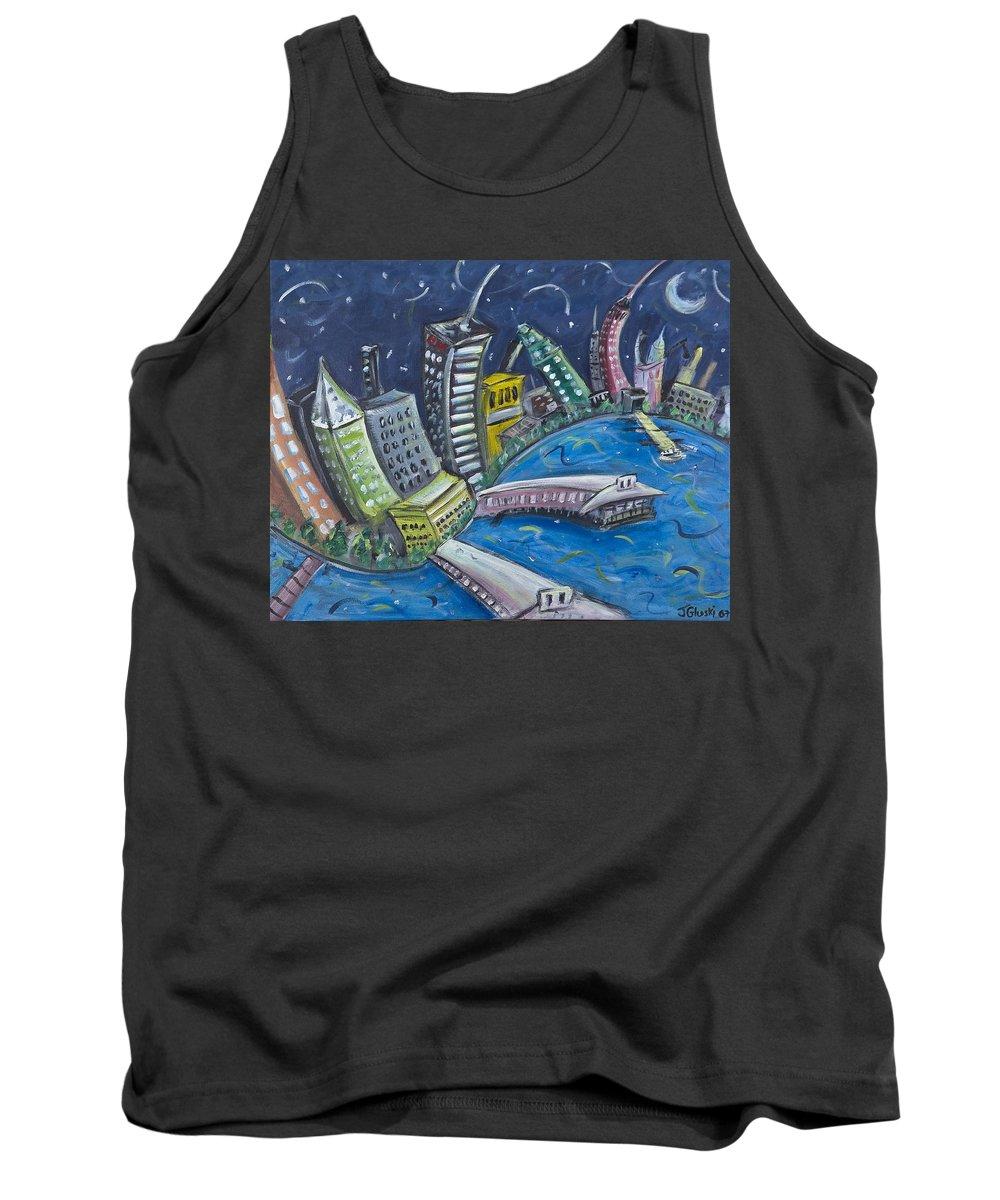 New York City Manhattan Hudson River Tank Top featuring the painting New York City Skyline Hoboken by Jason Gluskin