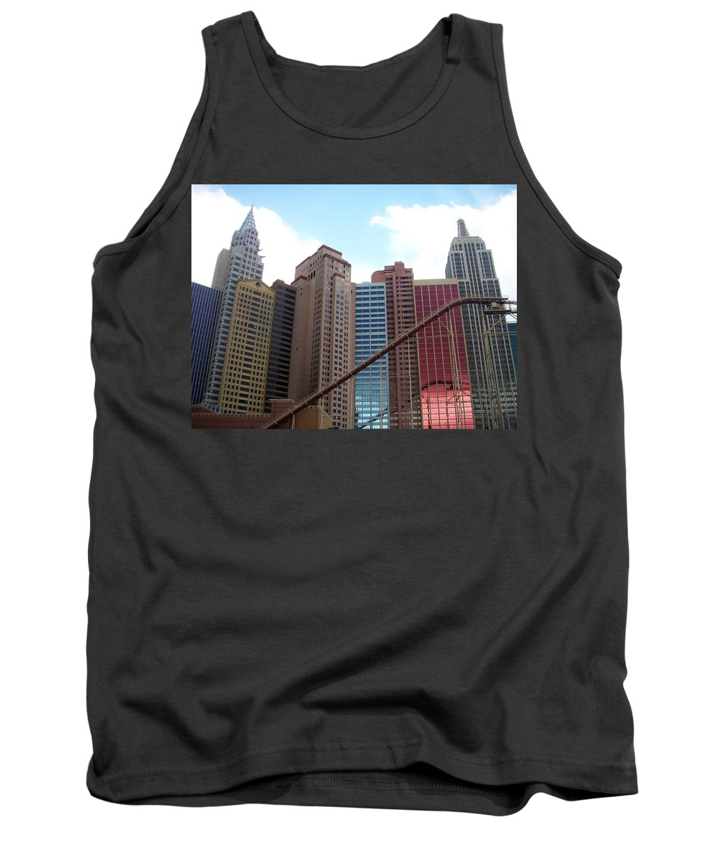 Vegas Tank Top featuring the photograph New York Hotel With Clouds by Anita Burgermeister