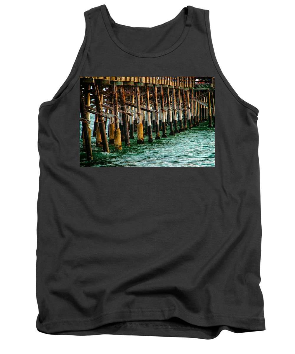 Sunset From Newport Beach Pier Tank Top featuring the photograph Newport Beach Pier Close Up by Mariola Bitner