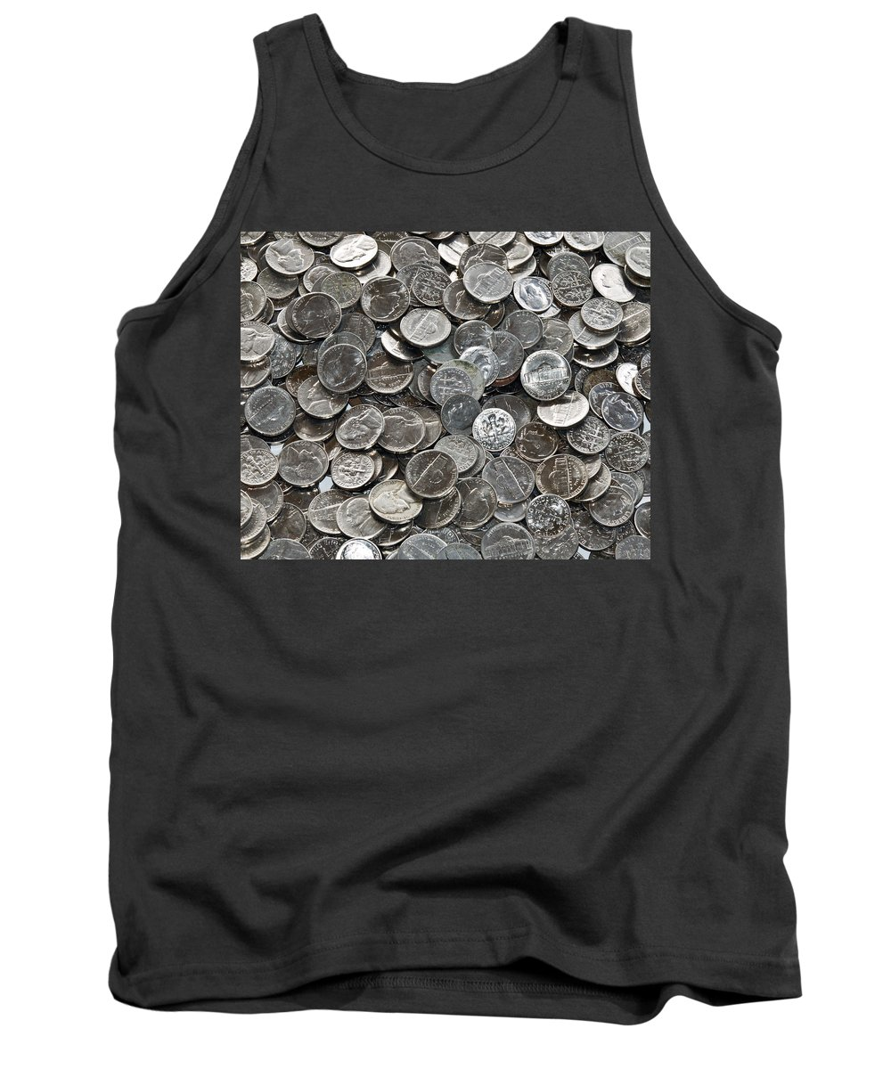 Nickel; Dime; Nickeled; Dimed; Coins; Currency; Silver; Five; Ten; Cents; Change; Cent; Piece; Dolla Tank Top featuring the photograph Nickeled And Dimed by Allan Hughes