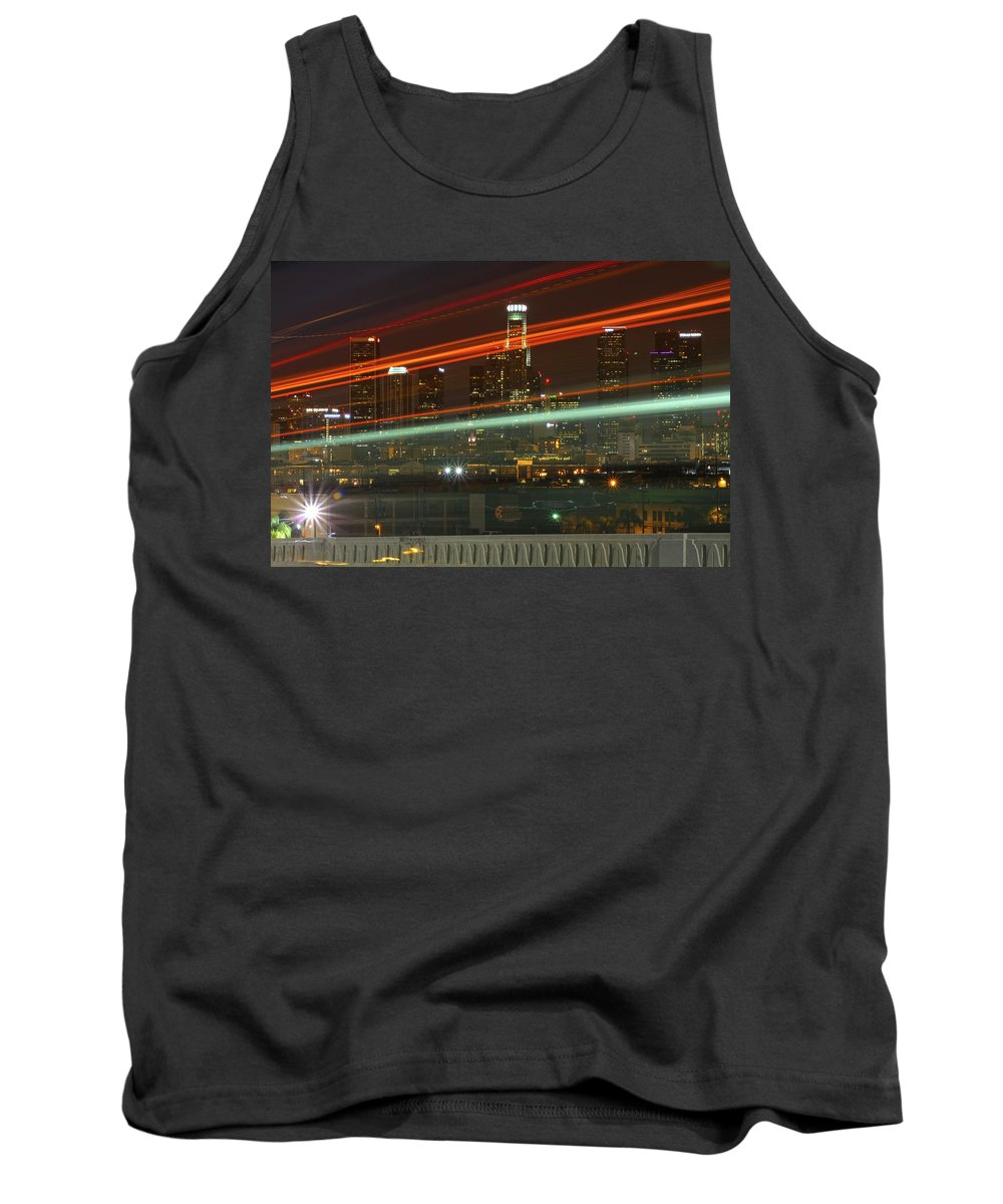 Los Angeles Tank Top featuring the photograph Night Shot Of Downtown Los Angeles Skyline From 6th St. Bridge by Hold Still Photography