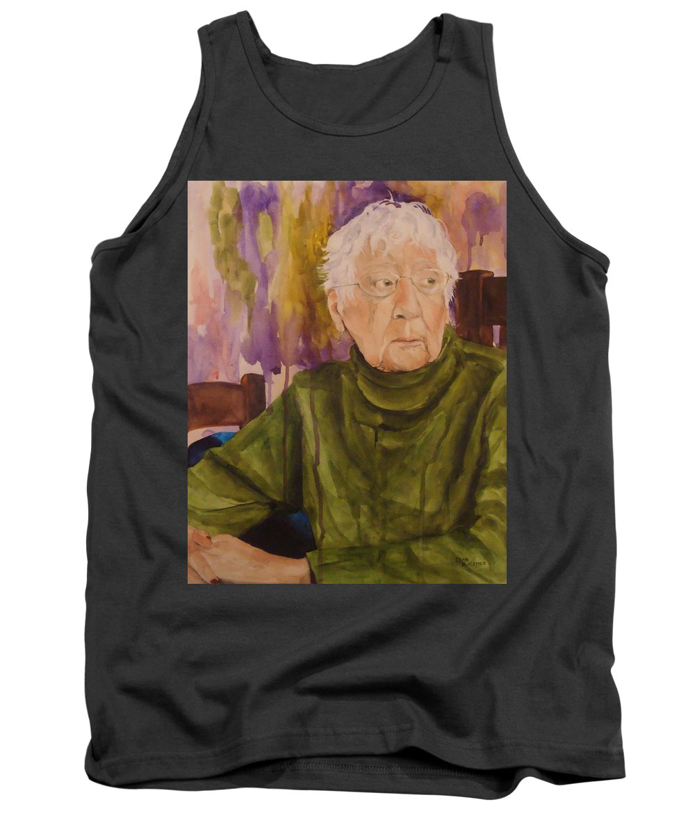 Portrait Tank Top featuring the painting Ninety Years Young by Jean Blackmer