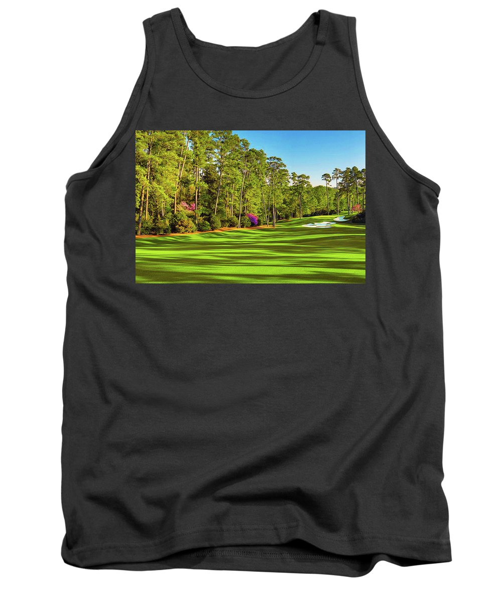 Home Art Tank Top featuring the digital art No. 10 Camellia 495 Yards Par 4 by Don Kuing