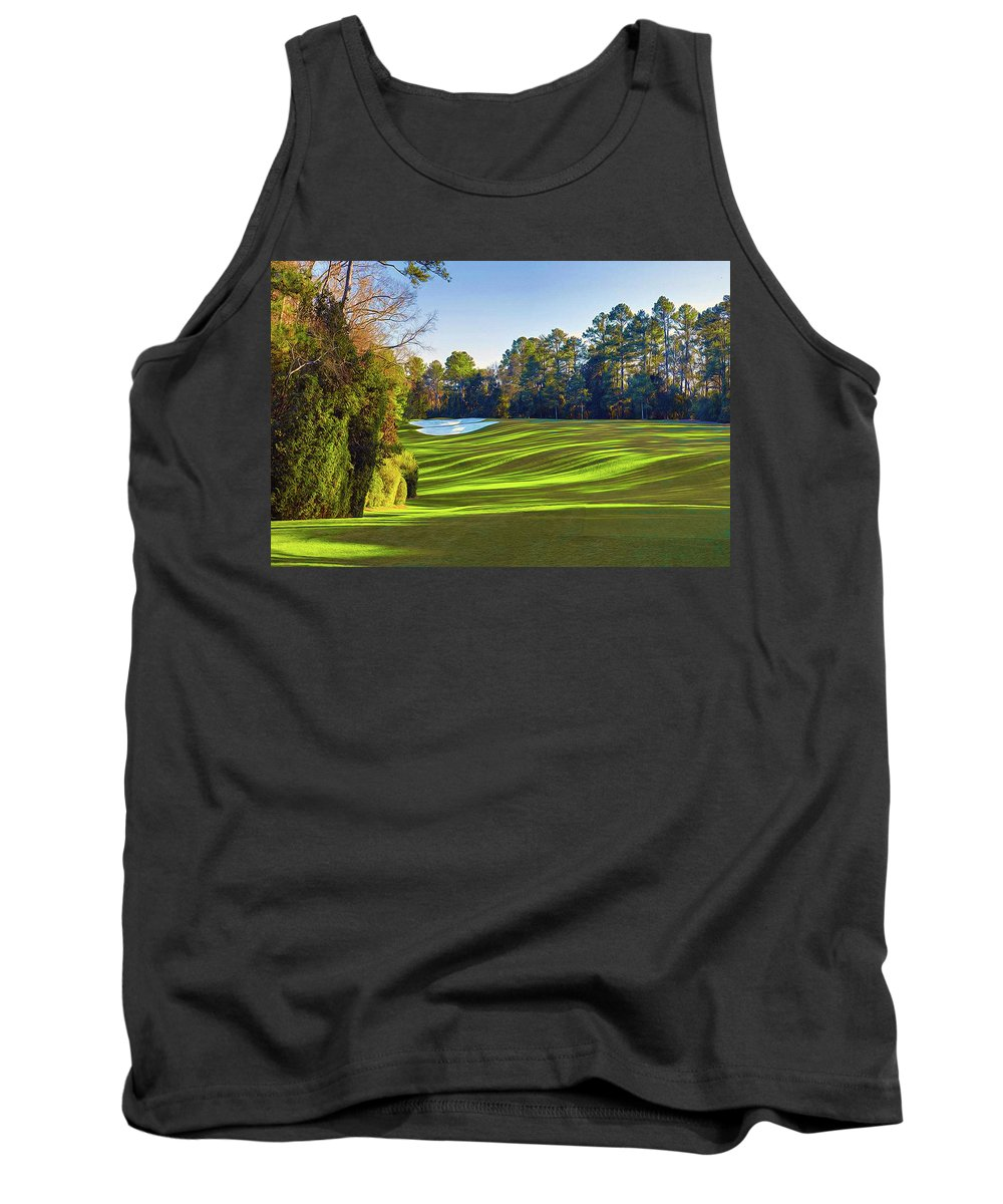 Home Art Tank Top featuring the digital art No. 5 Magnolia 455 Yards Par 4 by Don Kuing