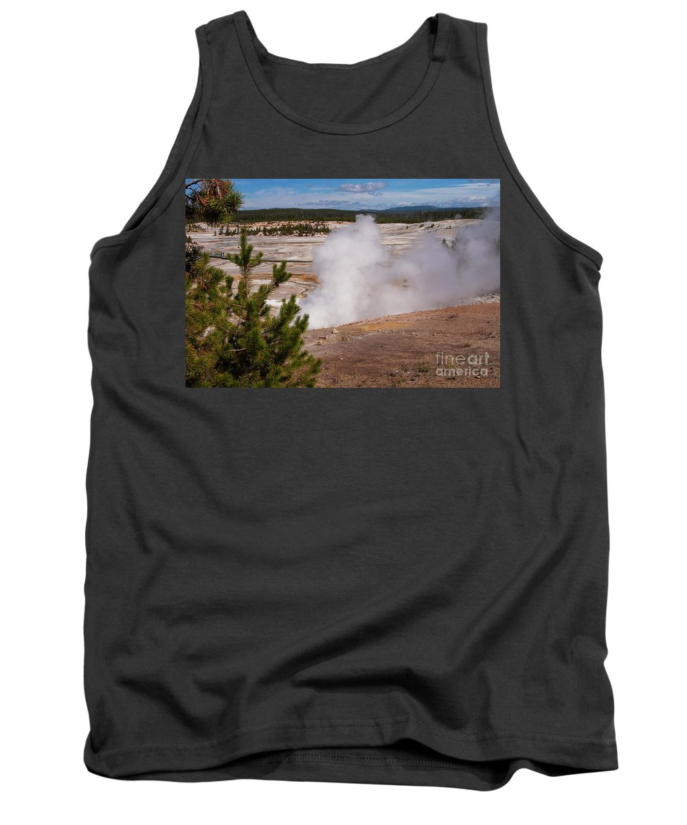Norris Geyser Basin Tank Top featuring the photograph Norris Geyser Basin One by Bob Phillips
