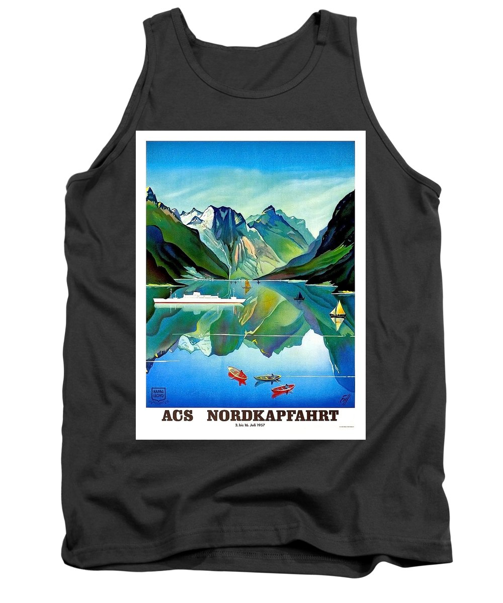 North Kape Tank Top featuring the painting North Kape, Norway, Vintage Travel Poster by Long Shot