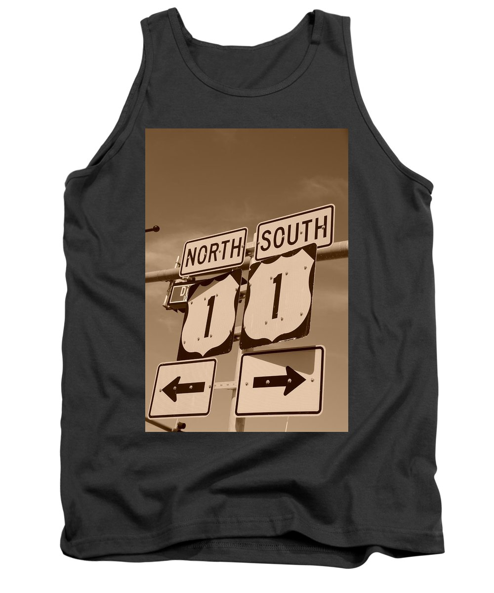 Sepia Tank Top featuring the photograph North South 1 by Rob Hans