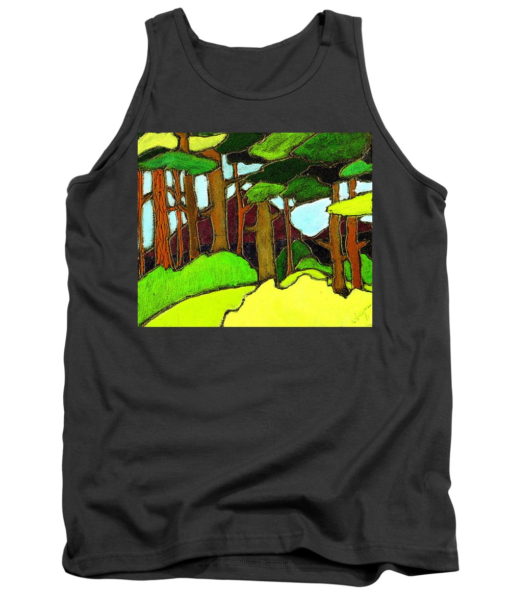 Trees Tank Top featuring the painting Northern Pathway by Wayne Potrafka