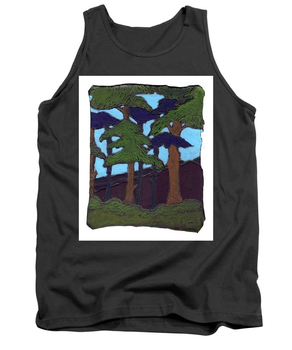 Tree Tank Top featuring the painting Northern Woods by Wayne Potrafka