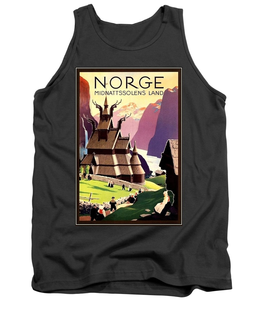 Norway Tank Top featuring the painting Norway, Vintage Travel Poster by Long Shot