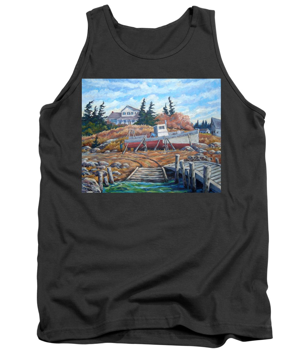 Boat Tank Top featuring the painting Novia Scotia by Richard T Pranke