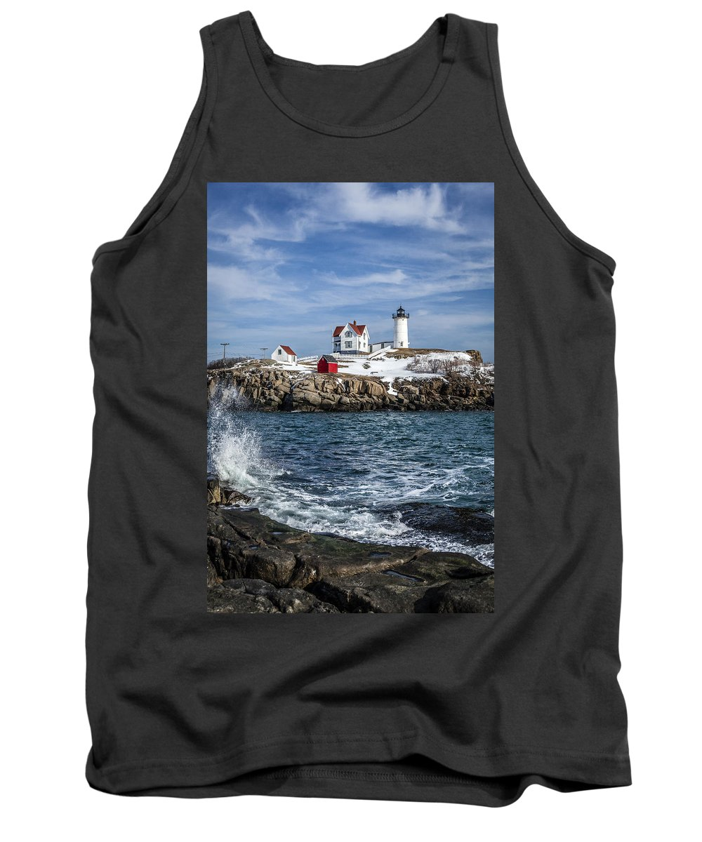 Lighthouse Tank Top featuring the photograph Nubble Lighthouse Winter by Gary Shepard