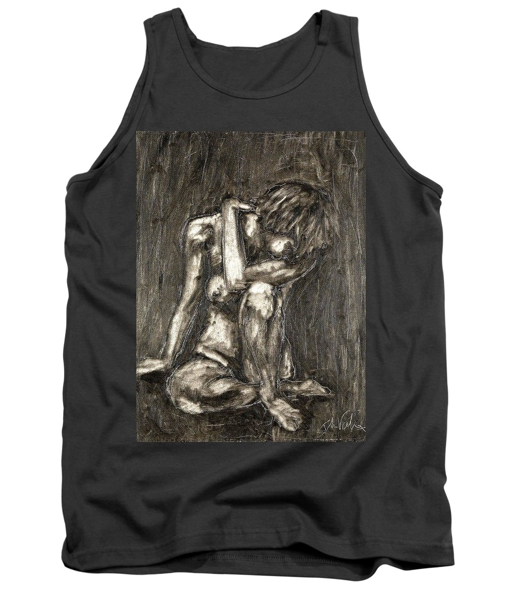 Clay Tank Top featuring the painting Nude by Thomas Valentine