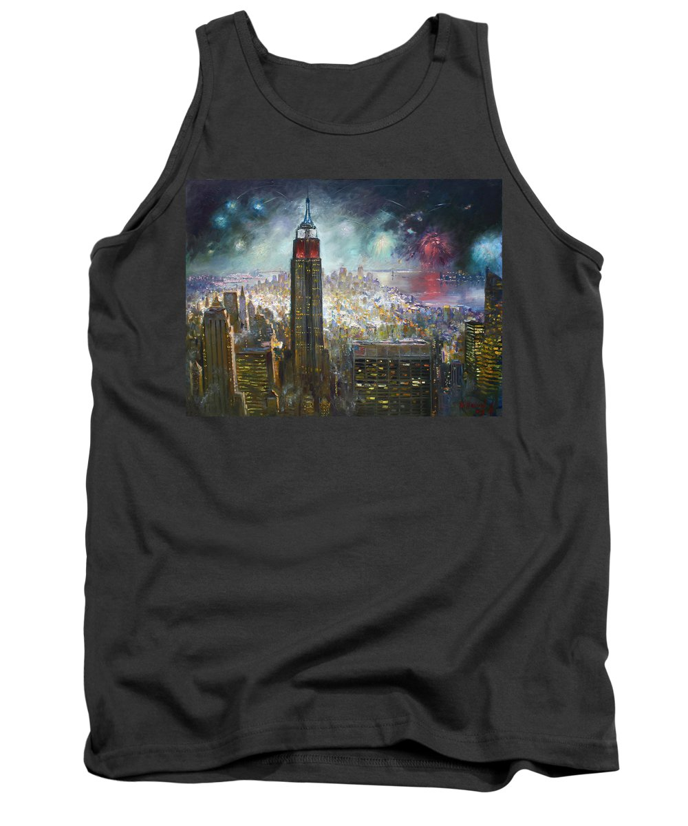 Landscape Tank Top featuring the painting Nyc. Empire State Building by Ylli Haruni