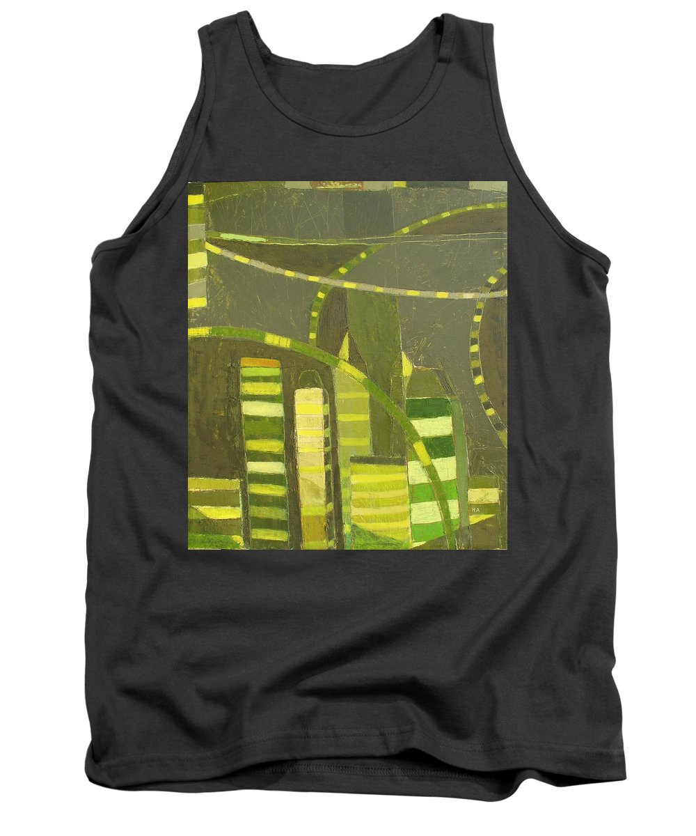 Nyc Tank Top featuring the painting Nyc In Deep Green by Habib Ayat