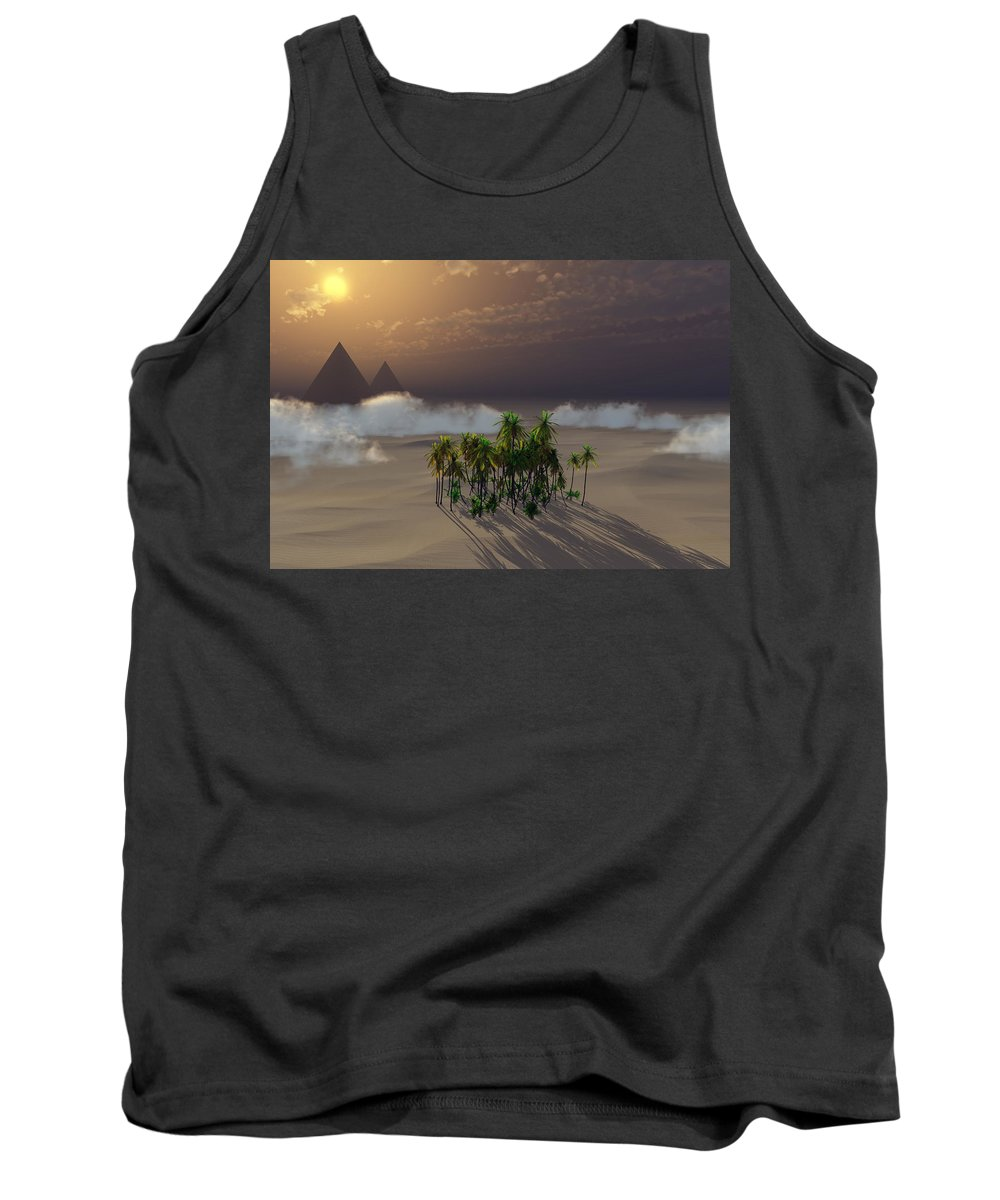 Deserts Tank Top featuring the digital art Oasis by Richard Rizzo