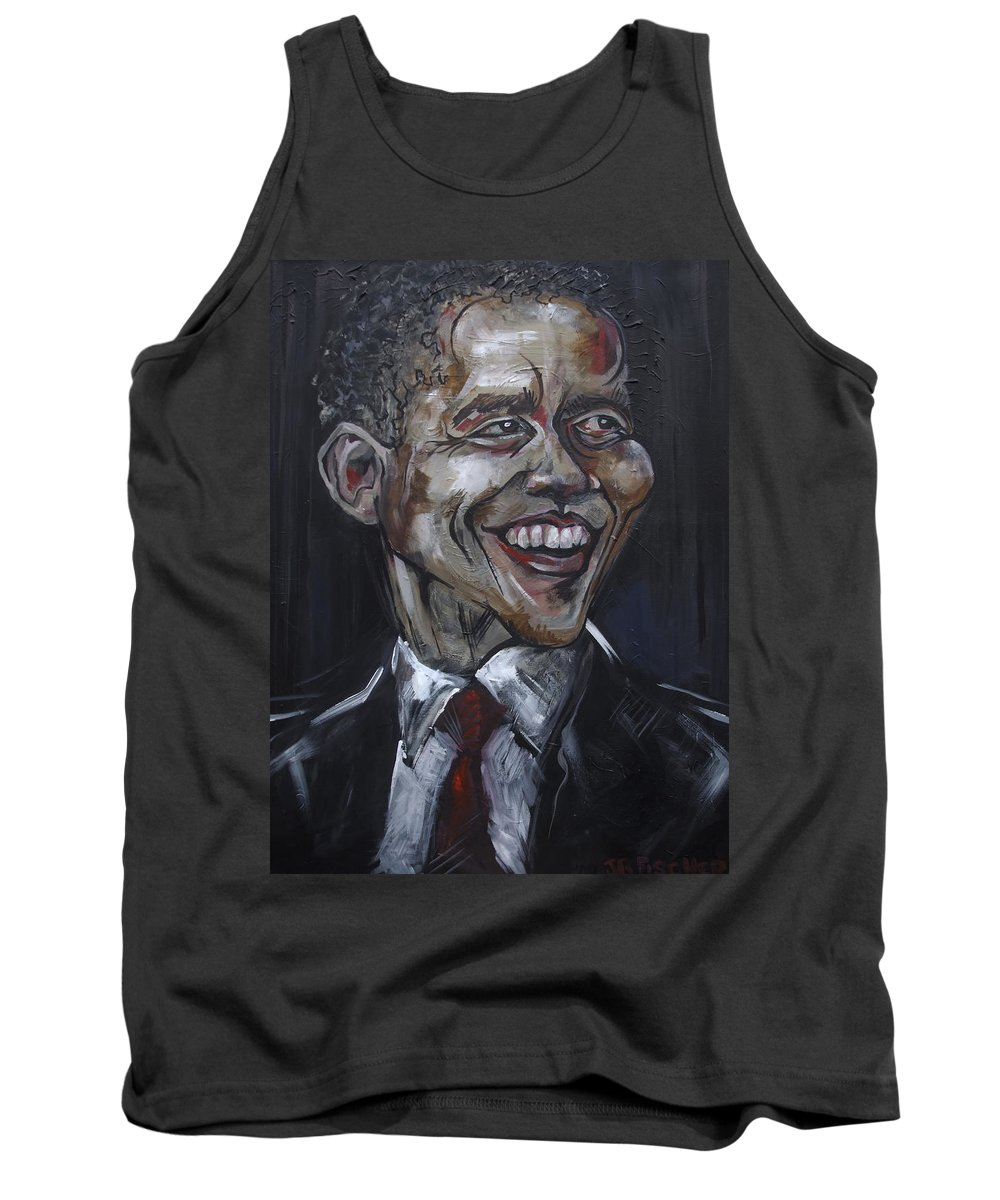 Barack Obama Tank Top featuring the painting Obama by Julie Fischer