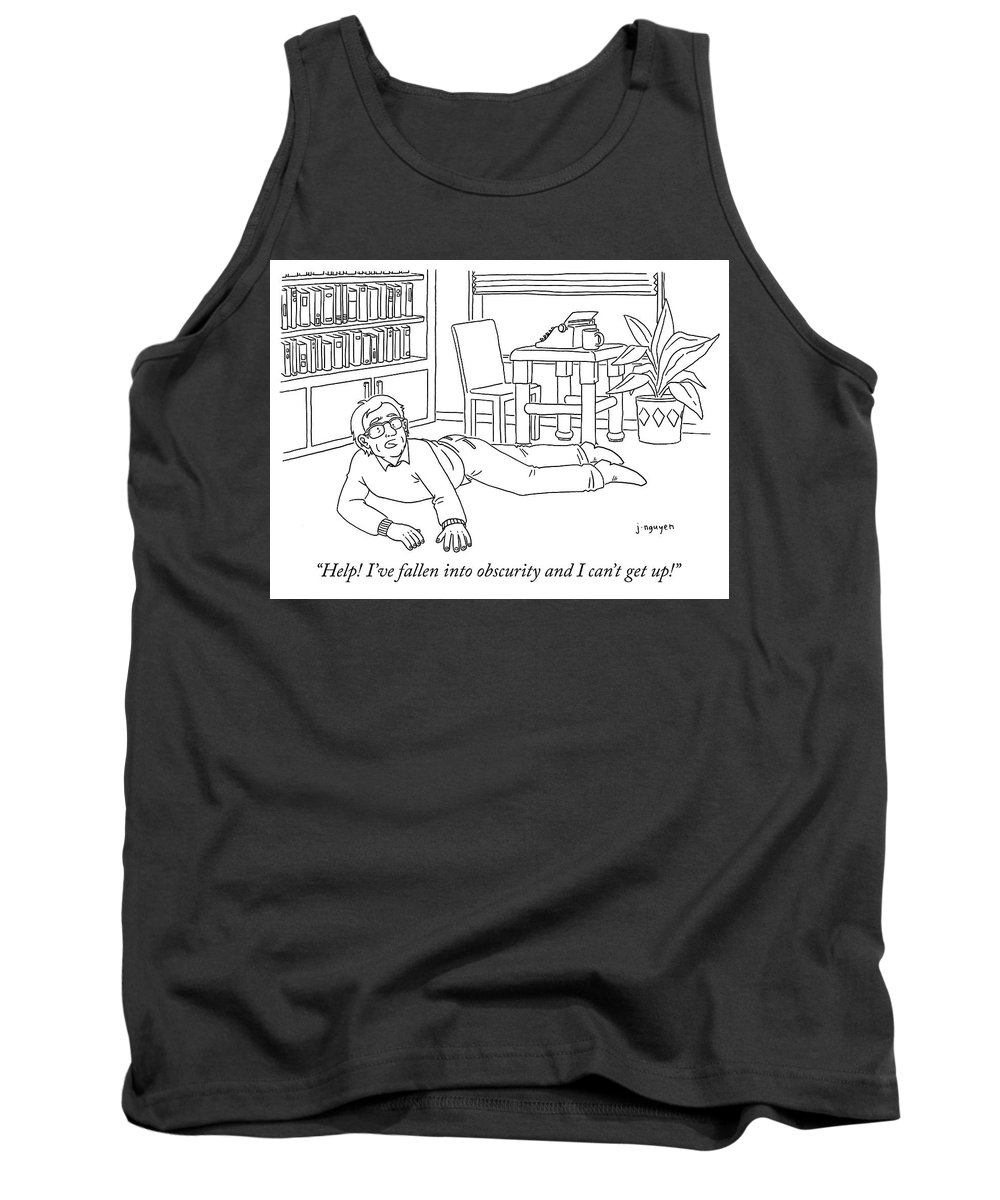 """help! I've Fallen Into Obscurity And Can't Get Up!"" Tank Top featuring the drawing Obscurity by Jeremy Nguyen"