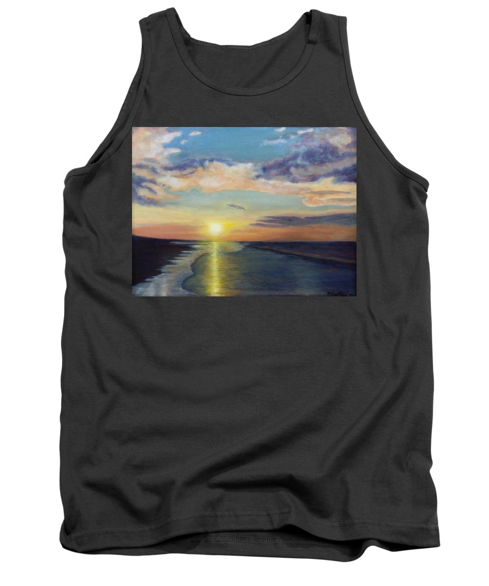 Ocean Tank Top featuring the painting Ocean Sunset by Mike Hartley