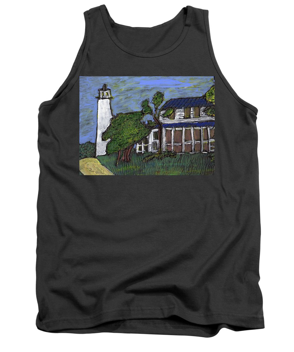 Light House Tank Top featuring the painting Ocracoke Island Light House by Wayne Potrafka