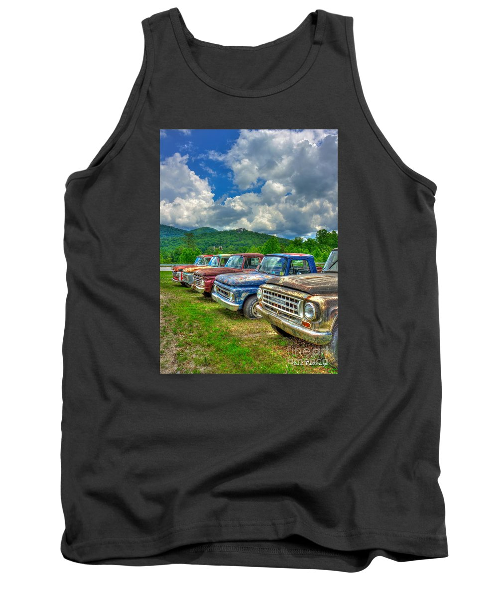 Reid Callaway Ford Trucks Tank Top featuring the photograph Odd Man Out Fords And Friend by Reid Callaway