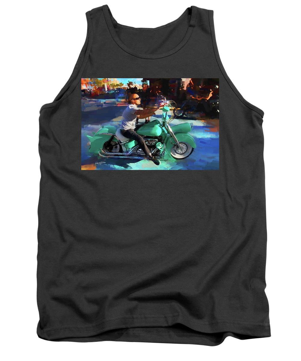 Alicegipsonphotographs Tank Top featuring the photograph Oh So Turq Biker by Alice Gipson
