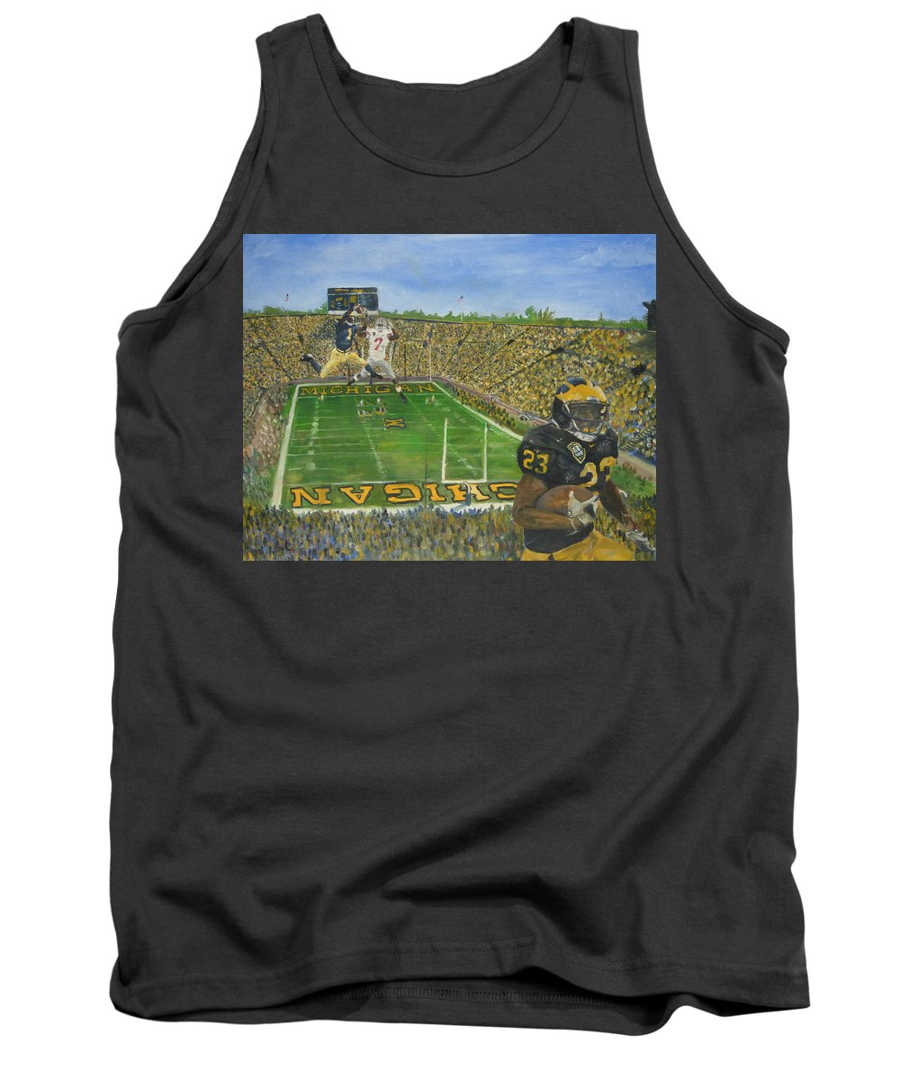 Michigan Tank Top featuring the painting Ohio State Vs. Michigan 100th Game by Travis Day