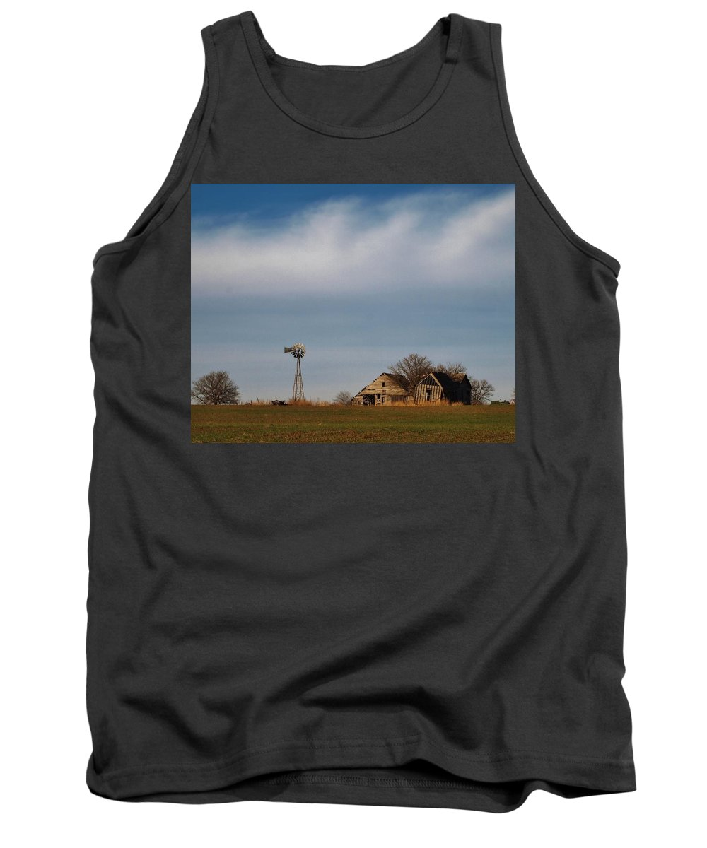 Farm Tank Top featuring the photograph Old Abandoned Farmstead In Kansas by Greg Rud