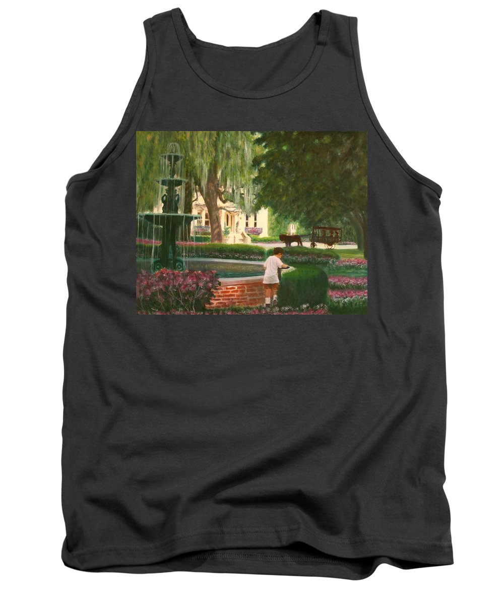 Savannah; Fountain; Child; House Tank Top featuring the painting Old And Young Of Savannah by Ben Kiger