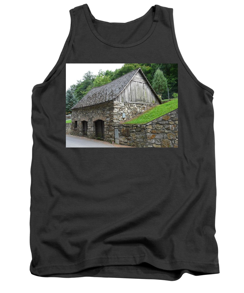 Old Tank Top featuring the photograph Old Austrian Barn by Valerie Ornstein