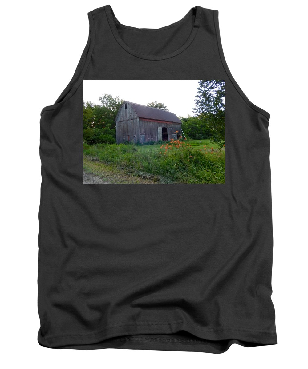 Barn Tank Top featuring the photograph Old Barn At Dusk by Susan Wyman