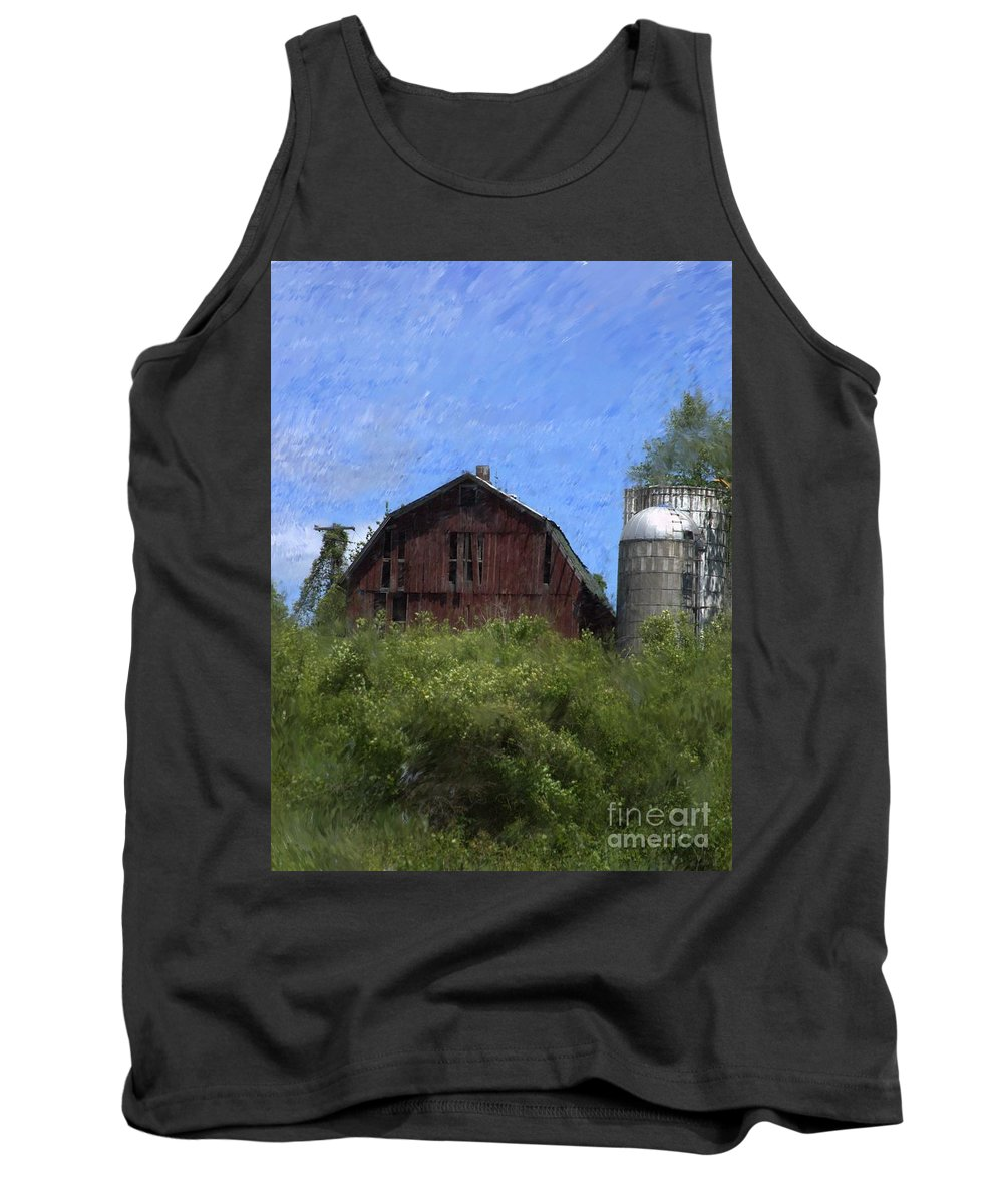 Old Barn Tank Top featuring the photograph Old Barn On Summer Hill by David Lane