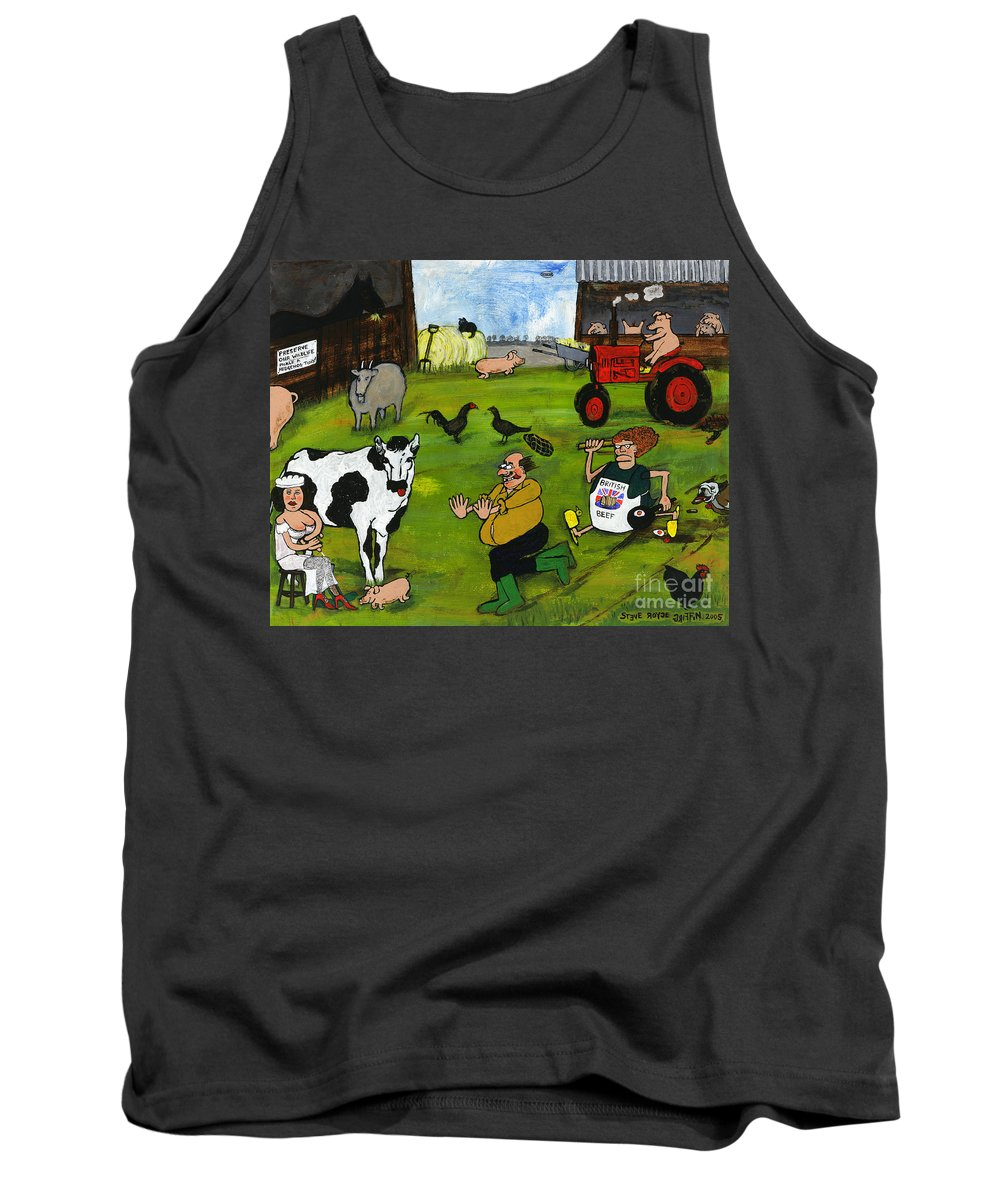 Bull Tank Top featuring the drawing Old Bull by Steve Royce Griffin