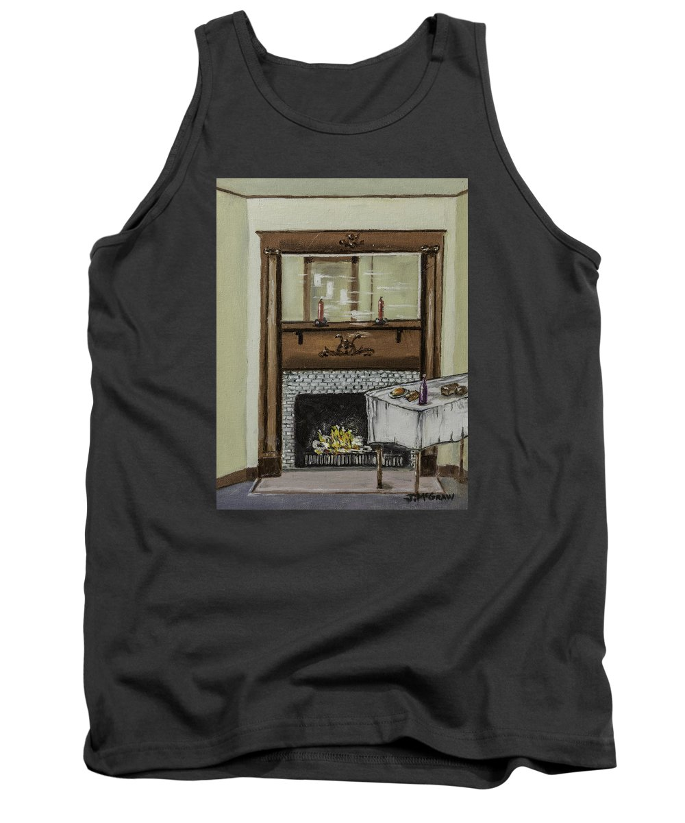 Fireplace Tank Top featuring the photograph Old Homestead Fireplace by Jim McGraw