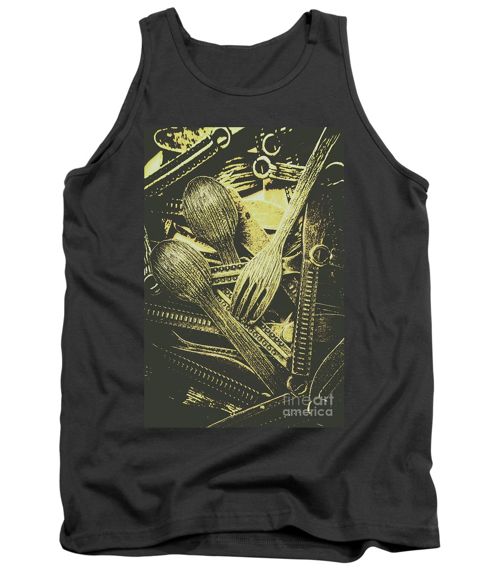 Kitchenware Tank Top featuring the photograph Old Knives Forks And Spoons by Jorgo Photography - Wall Art Gallery