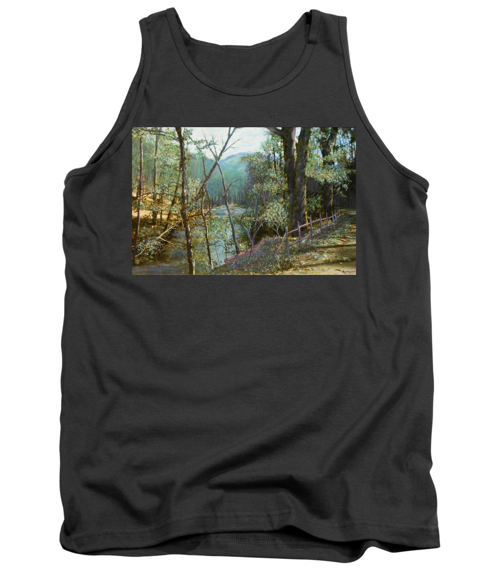 River; Trees; Landscape Tank Top featuring the painting Old Man River by Ben Kiger