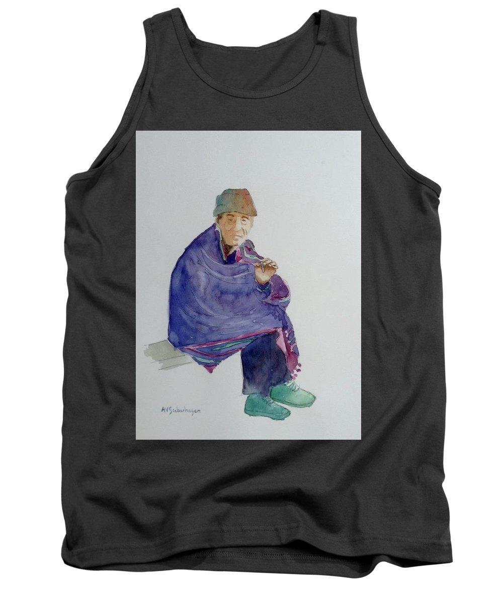 Figures Tank Top featuring the painting Old Man Smoking by Aurelia Sieberhagen