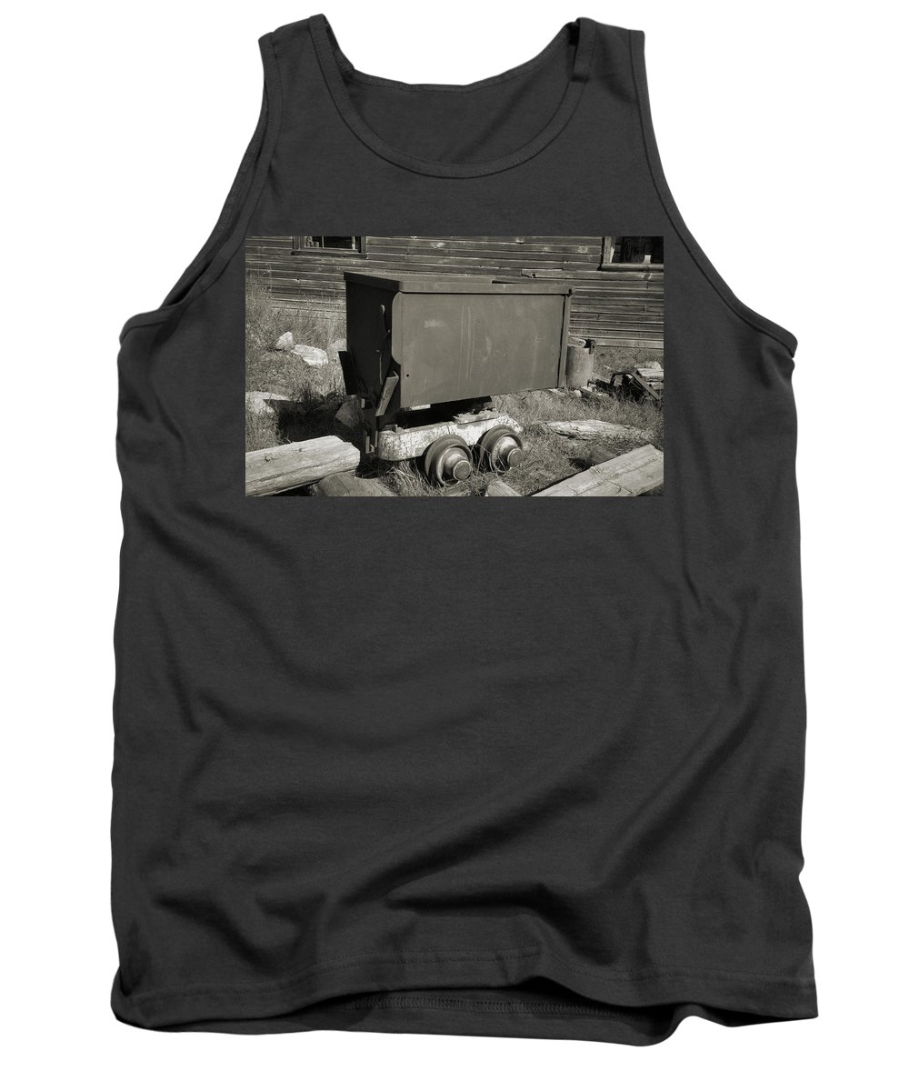 Ore Cart Tank Top featuring the photograph Old Mining Cart by Richard Rizzo