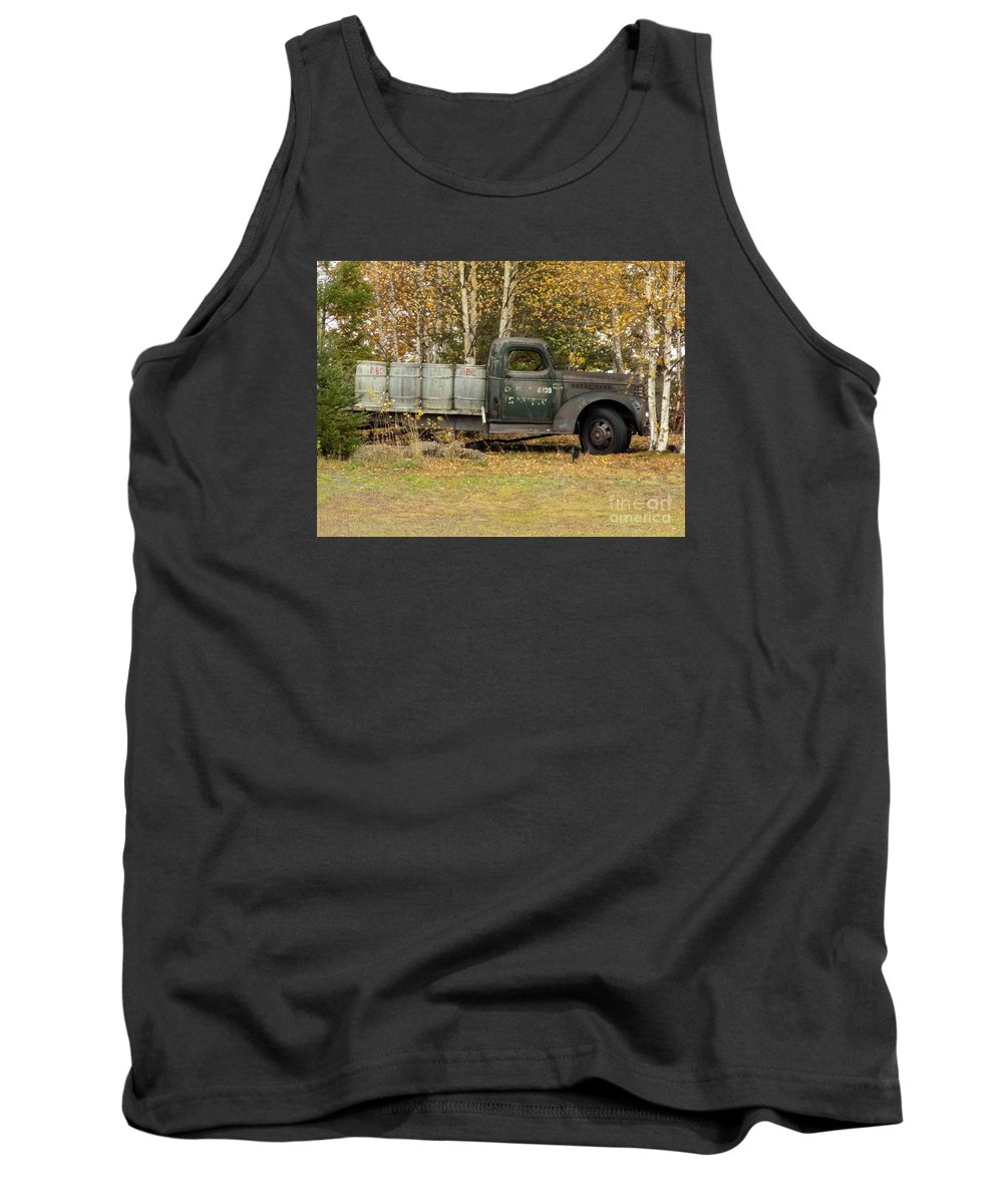 Potato Barrels Tank Top featuring the photograph Old Truck With Potato Barrels by William Tasker
