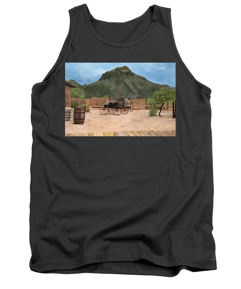 Art Tank Top featuring the painting Old Tucson by Mary Rogers