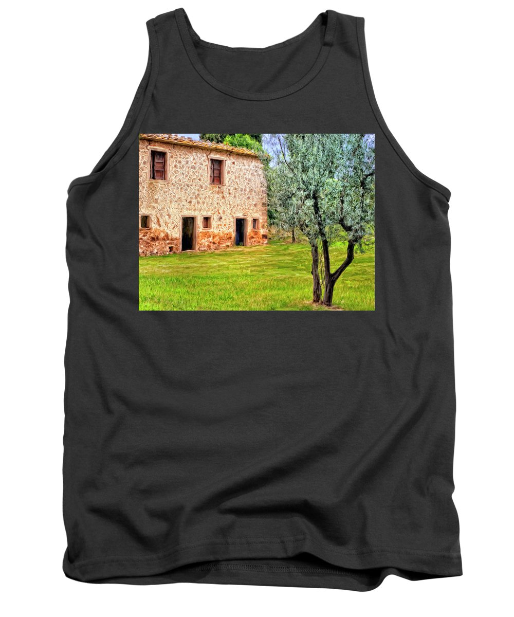 Italy Tank Top featuring the painting Old Villa And Olive Trees by Dominic Piperata
