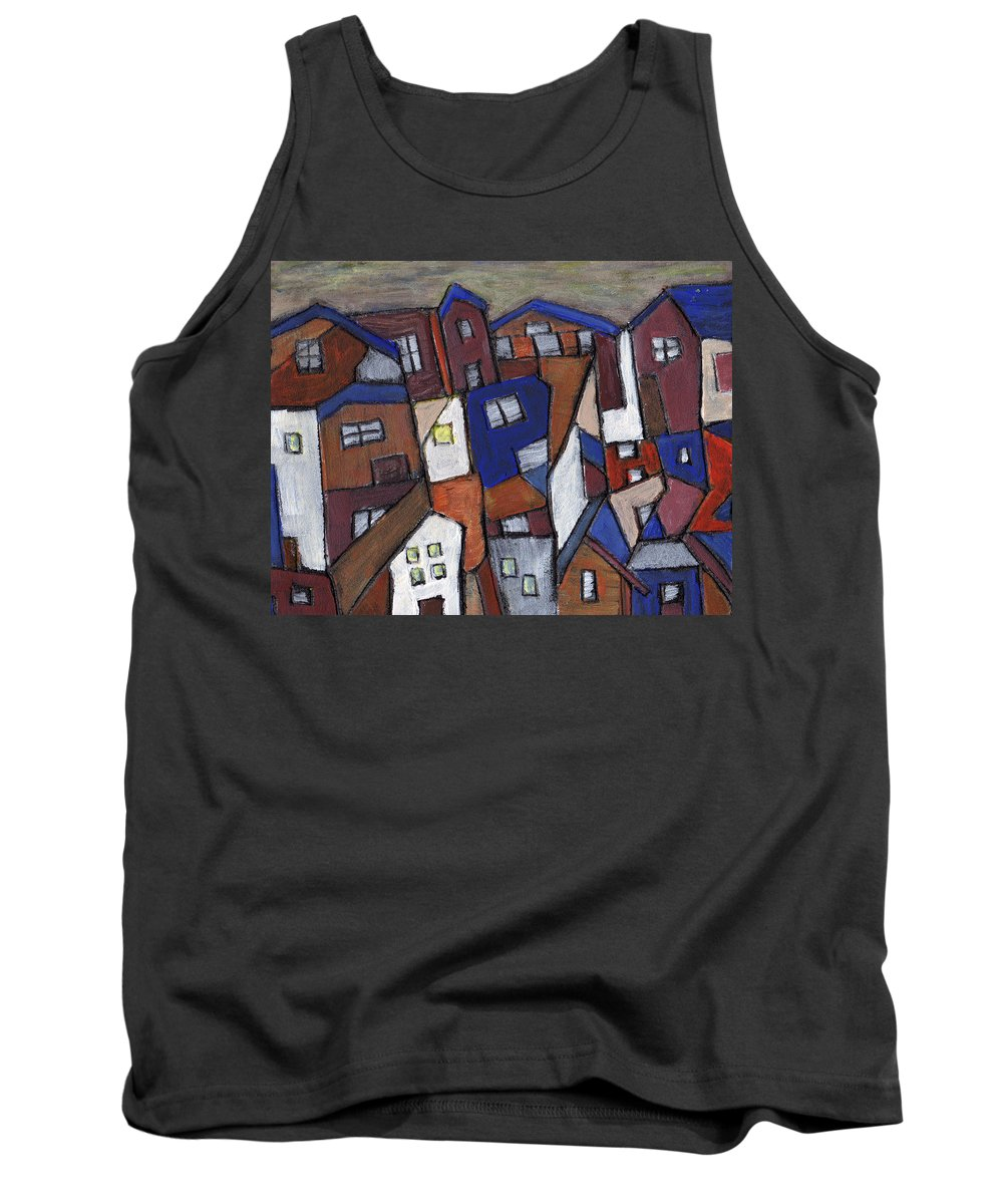 Urban Tank Top featuring the painting Olde Towne by Wayne Potrafka