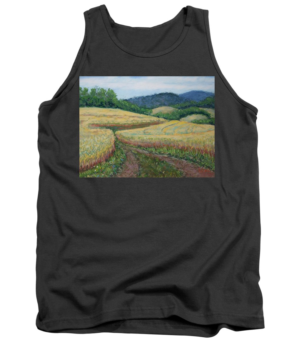 Oldwick Tank Top featuring the painting Oldwick Nj Wheatfield by Laurie Paci