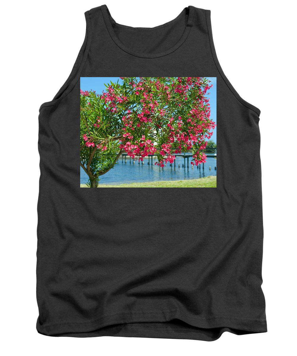 Florida; Indian; River; Melbourne; Nerium; Oleander; Red; Pink; Flower; Bush; Shrub; Poison; Poisono Tank Top featuring the photograph Oleander On Melbourne Harbor In Florida by Allan Hughes