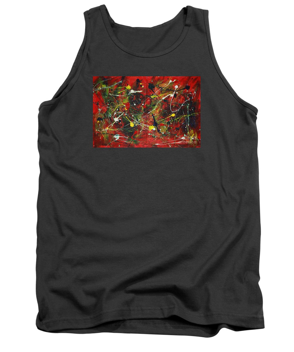 Splatter Tank Top featuring the painting On A High Note by Jacqueline Athmann