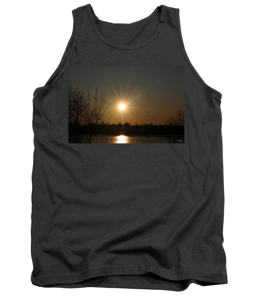 Geese Water Lake Ice Trees Nature Sunrise Sun Cold Morning Ducks Birds Tank Top featuring the photograph On Frozen Pond by Andrea Lawrence